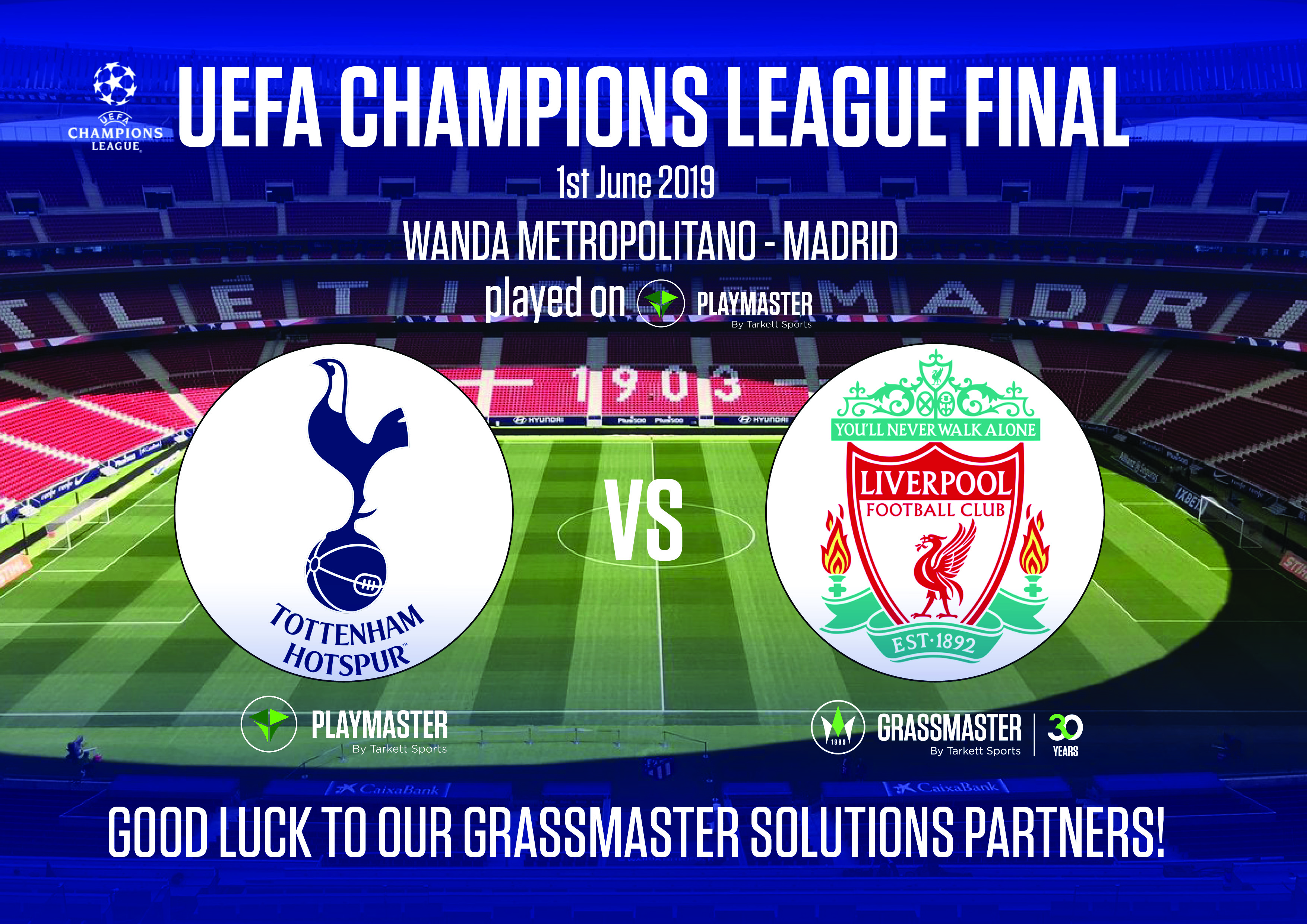 UEFA Champions League Final @Wanda Metropolitano Stadium, GrassMaster Solutions, by Tarkett Sports will be part of the game!